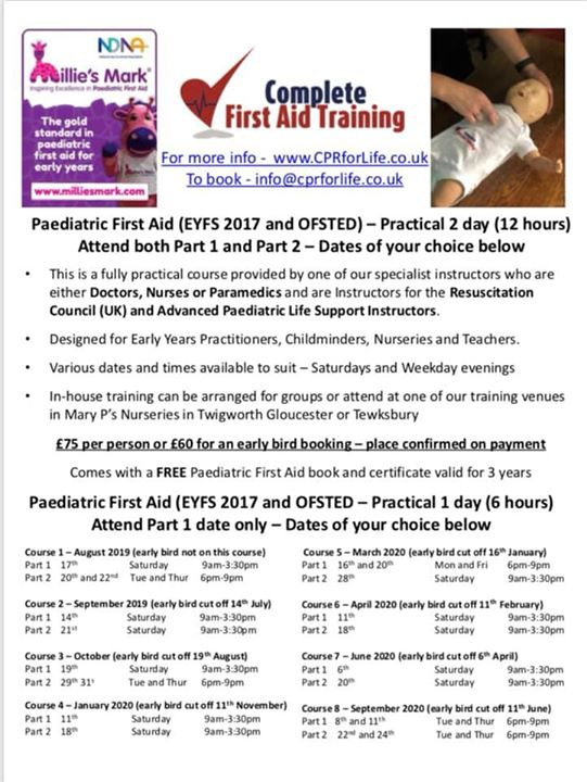 First Aid Training at Mary P's, get in touch for more i...